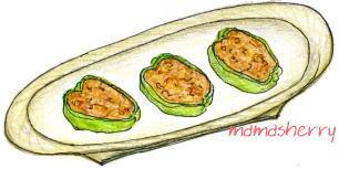 健康レシピの野菜レシピ、ひき肉レシピ:ピーマンの肉詰め