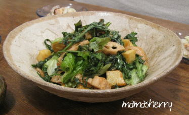 健康レシピの野菜レシピ:春菊と素揚げじゃが芋、蓮根のサラダ